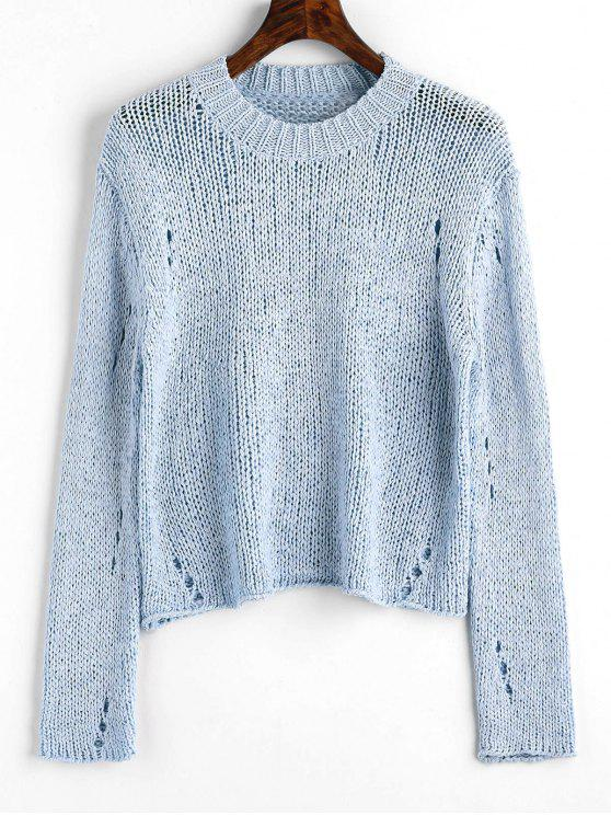 Pullover Ripped Hollow Out Sweater - Azul Claro Única Talla