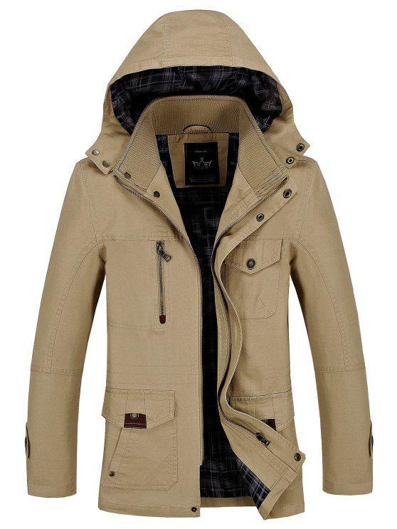 Jaqueta em capa com capuz casual - Caqui L