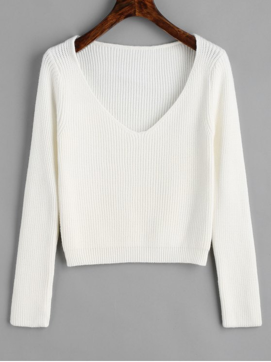 ed54cd7bc06360 34% OFF] 2019 Pullover V Neck Cropped Sweater In WHITE | ZAFUL