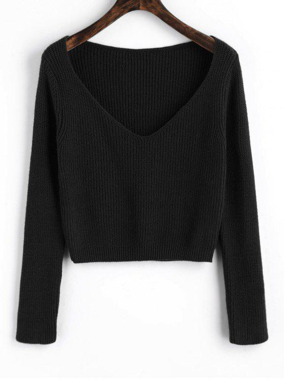 buy Pullover V Neck Cropped Sweater - BLACK ONE SIZE