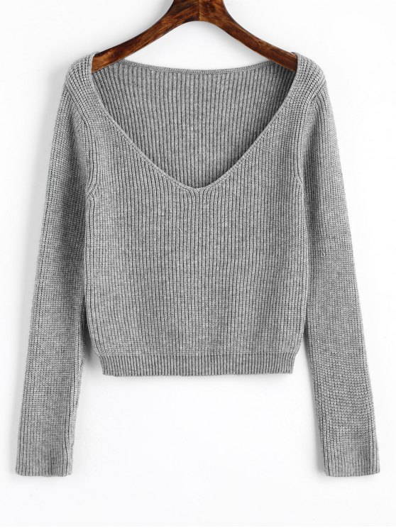 pullover v neck cropped sweater gray sweaters one size. Black Bedroom Furniture Sets. Home Design Ideas