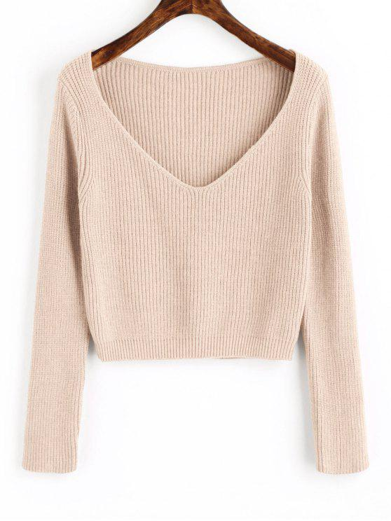 lady Pullover V Neck Cropped Sweater - APRICOT ONE SIZE
