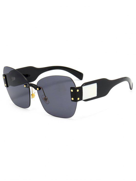 womens Butterfly Shape Embellished Rimless Oversized Sunglasses - BLACK+GREY