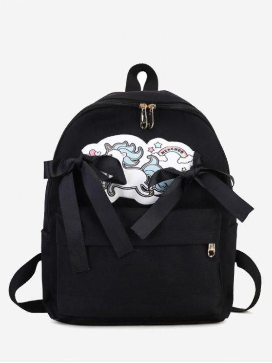 Unicorn Ribbon Ribbon Backpack - Preto