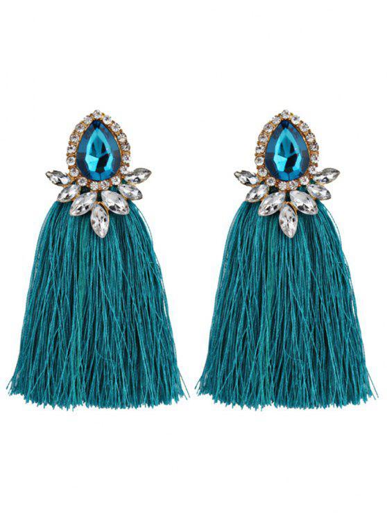 Rhinestoned Faux Gem Teardrop Tassel Earrings - Celeste