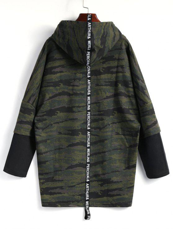 Hooded High Low Camo Top - Camuflage, L