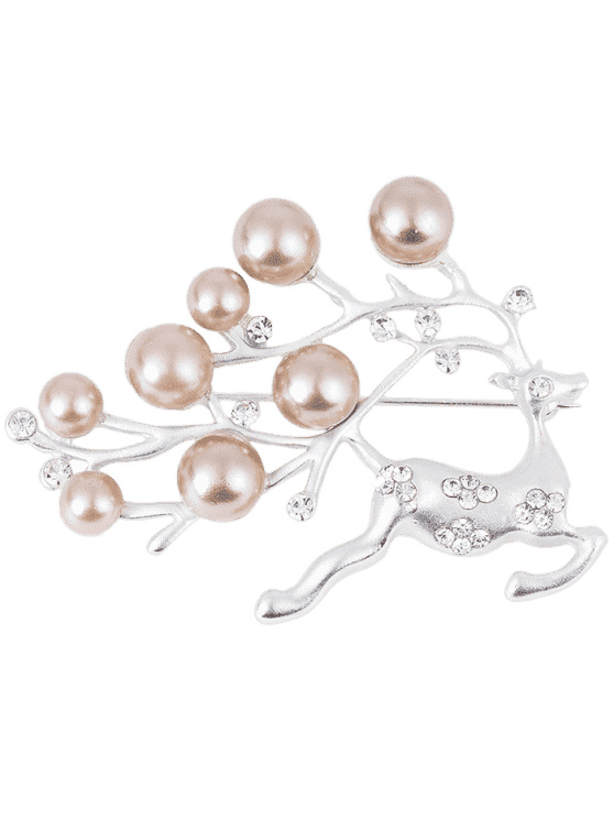 Rhinestone Artificial Pearl Christmas Deer Brooch - Prata