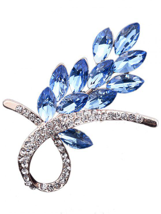 new Faux Crystal Rhinestone Floral Brooch - BLUE