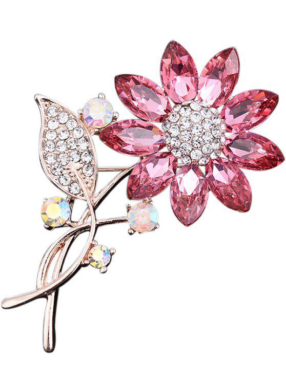 Rhinestone Faux Crystal Sunflower Leaf Brooch - Rosa