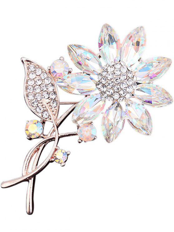Rhinestone Faux Crystal Sunflower Leaf Brooch - Branco
