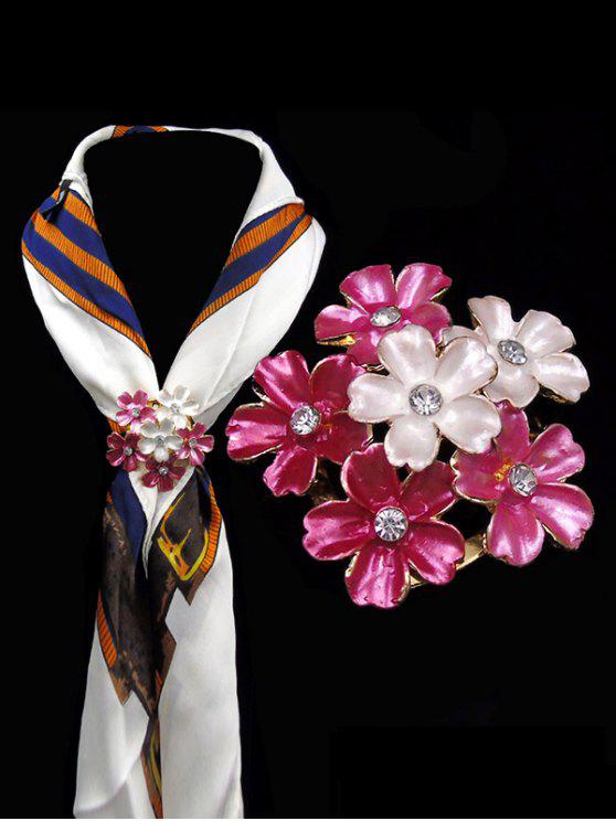 fashion Rhinestone Flower Brooch - PINK