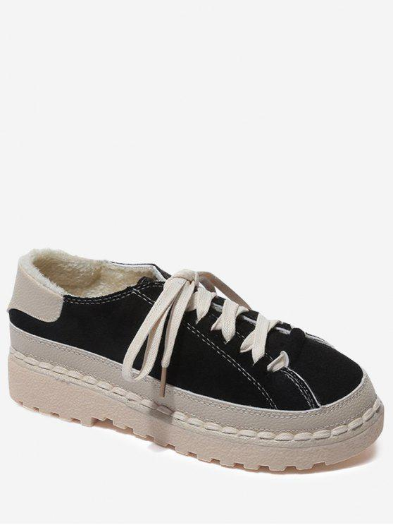 buy Contrasting Color Whipstitch Casual Shoes - BLACK 38
