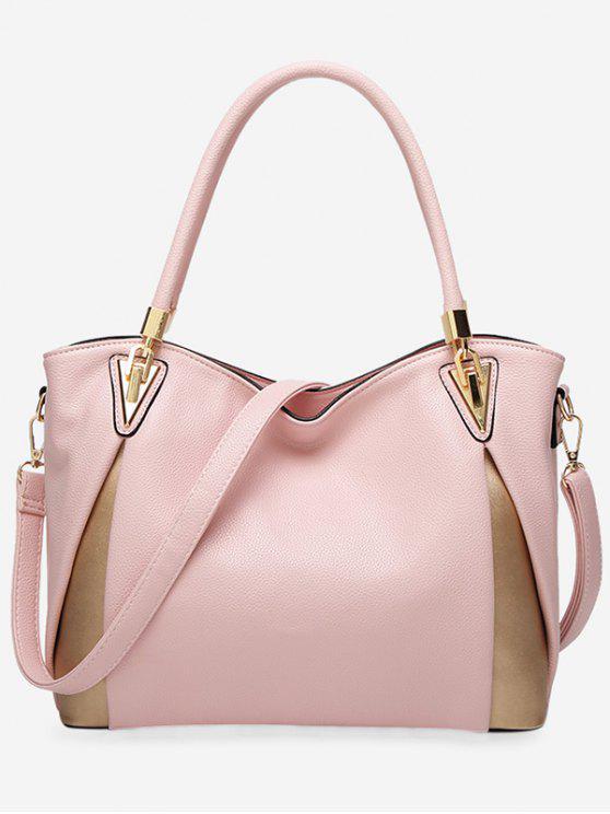 حقيبة كتف من الجلد المصنع بألوان جامدة - زهري