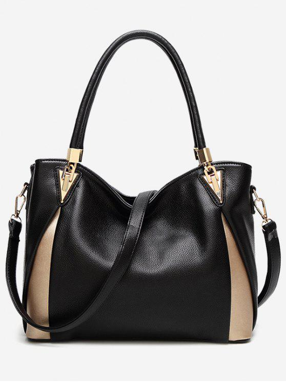 sale PU Leather Color Blocking Shoulder Bag - BLACK