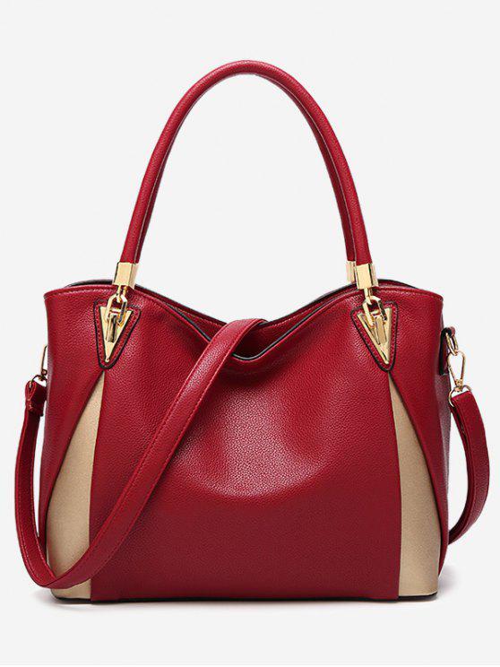 buy PU Leather Color Blocking Shoulder Bag - RED