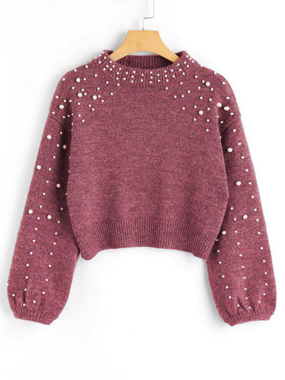 sale Faux Pearl Mock Neck Sweater - RUSSET-RED M