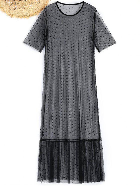 Sheer Mesh Maxi Beach Dress - Preto S