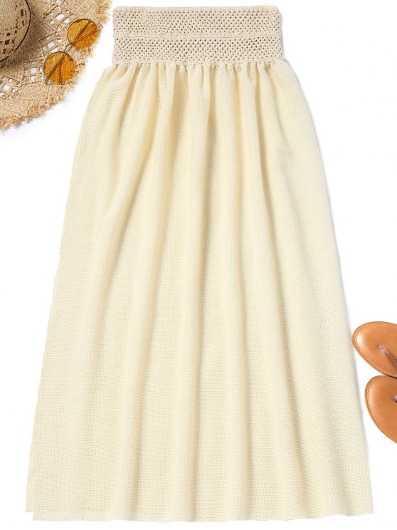 sale Mesh High Slit Cover Up Skirt - PALOMINO ONE SIZE