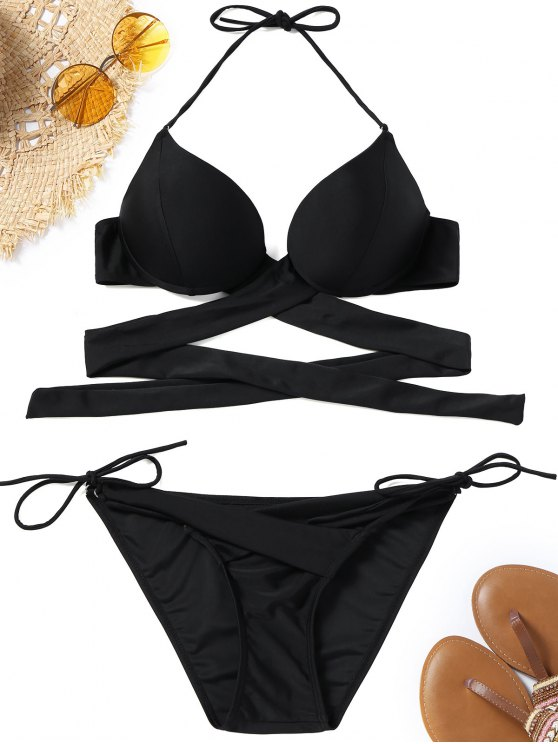 womens Underwire String Wrap Bikini Set - BLACK M