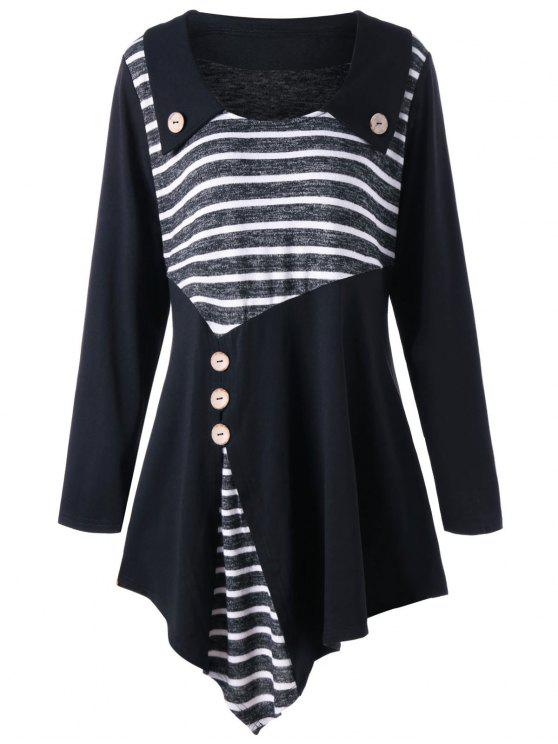 1183ed874e60d6 Plus Size - Gestreiftes asymmetrisches Tunika-T-Shirt - Schwarz 3XL