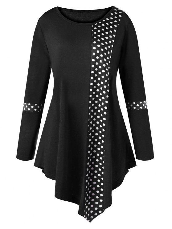 Camiseta Túnica Asimétrica con Lunares y Tallas Grandes - Negro 2XL
