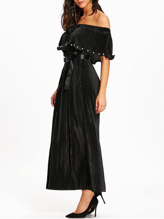 Vestido negro largo hombros descubiertos