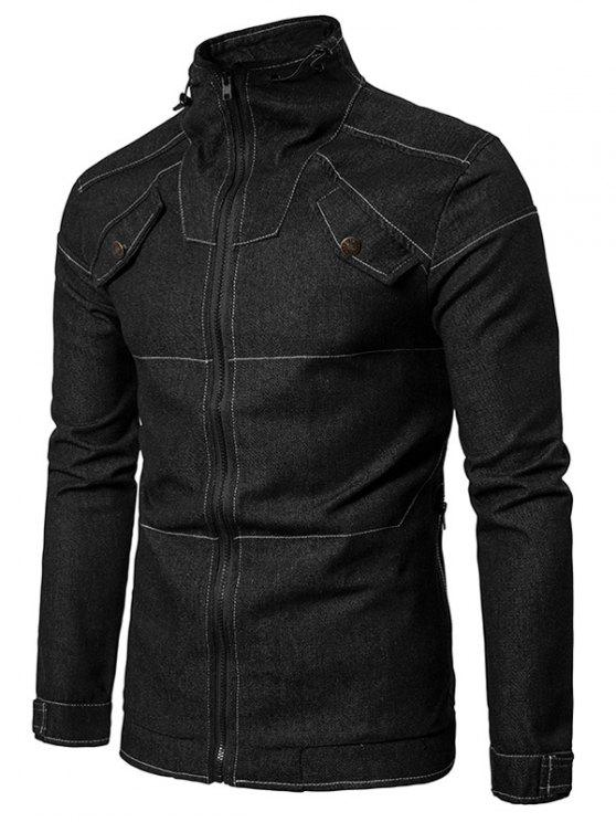 Stand Collar Suture Zip Up Denim Jacket - Preto L