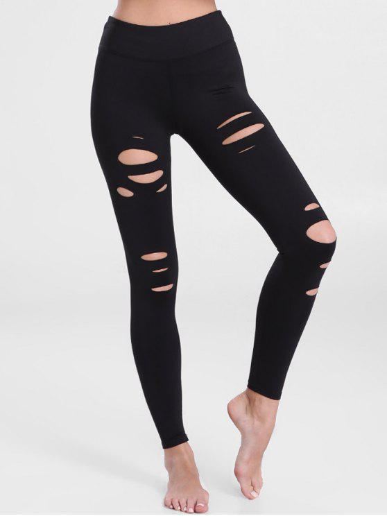 chic Distressed Workout Leggings - BLACK XL
