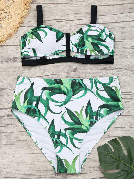 5217391b6cd Plant Print High Waisted Plus Size Bikini - White 4xl
