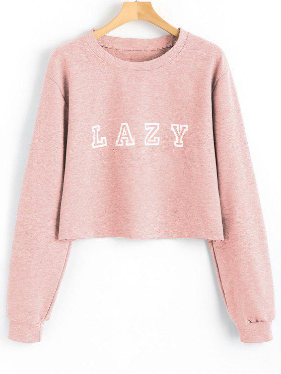 fancy Drop Shoulder Letter Graphic Pattern Sweatshirt - SHALLOW PINK S