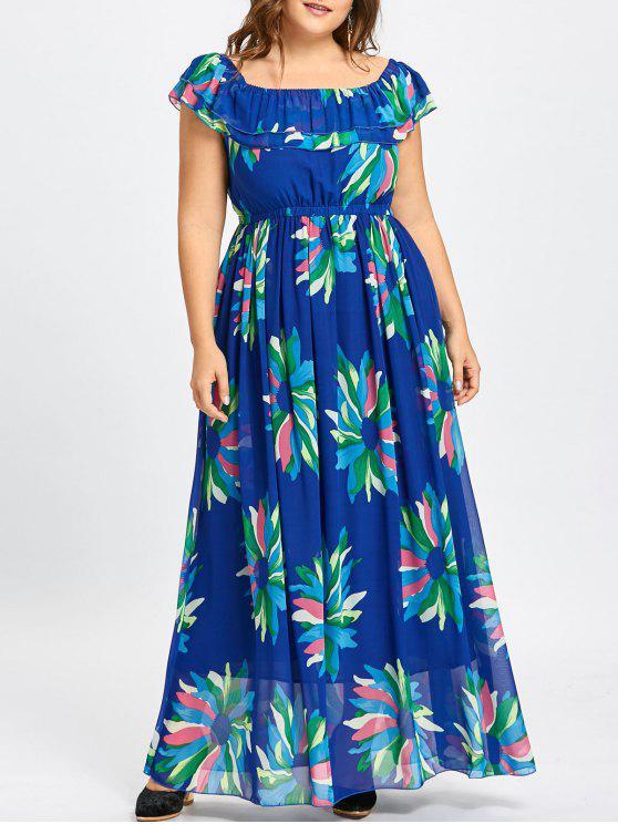 Flounce Plus Size Maxi Floral Chiffon Dress BLUE