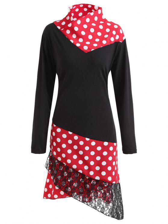 93e91ef1687d8 2019 Plus Size Lace Panel Polka Dot Asymmetrical Dress In BLACK 2XL ...