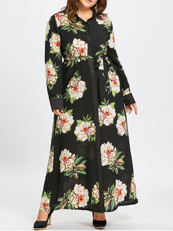 Plus Size Floral Button Up Maxi Shirt Dress