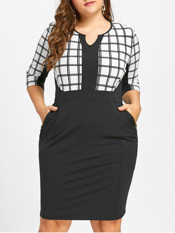 274795cd42099 Plus Size Work Zipper Embellished Checked Sheath Dress - White And Black 4xl