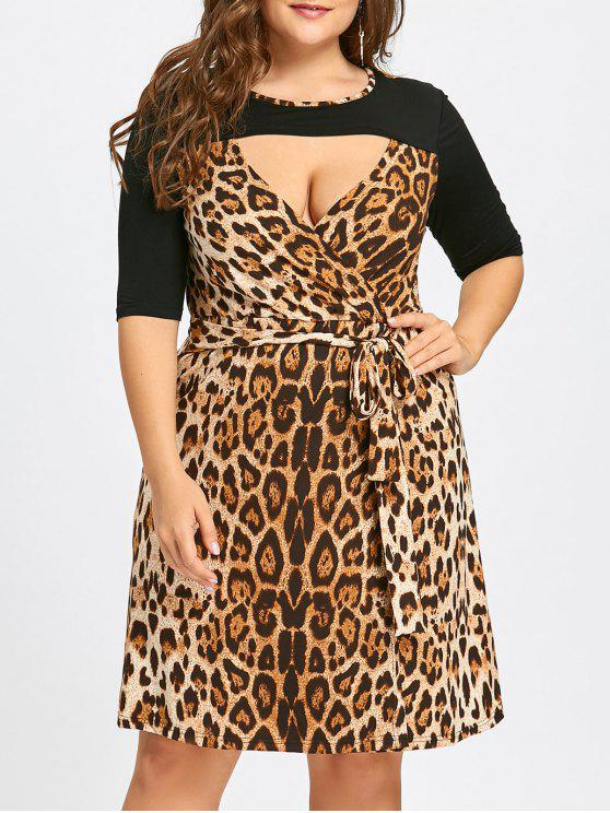 28% OFF  2019 Plus Size Leopard Printed Keyhole Cocktail Dress In ... ec350345d