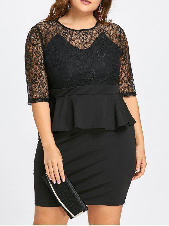 31% OFF] 2019 Plus Size Lace Insert Sheath Peplum Dress In BLACK | ZAFUL