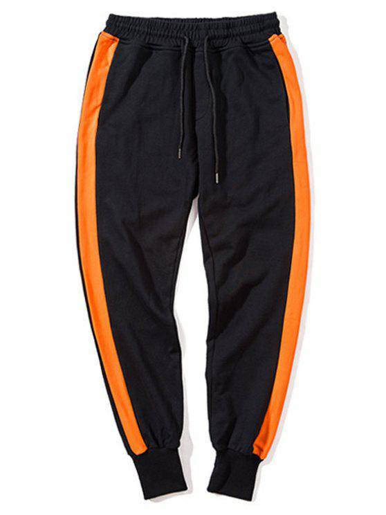women Side Striped Drawstring Sweatpants Men Clothes - BLACK AND ORANGE XL