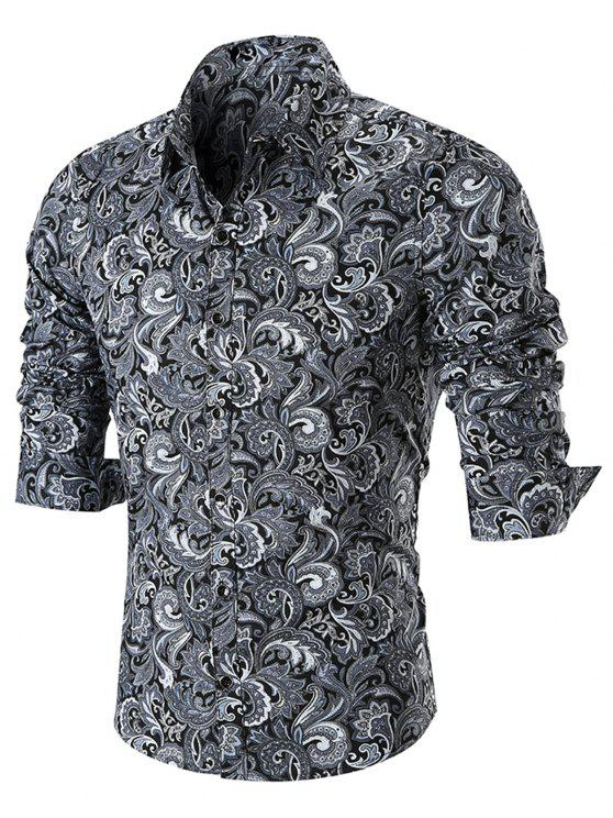 زر بيزلي طباعة قميص طويل الأكمام - أسود 4XL