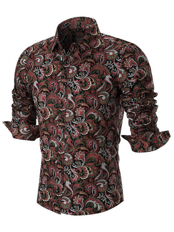 best Button Paisley Print Long Sleeve Shirt - RED L
