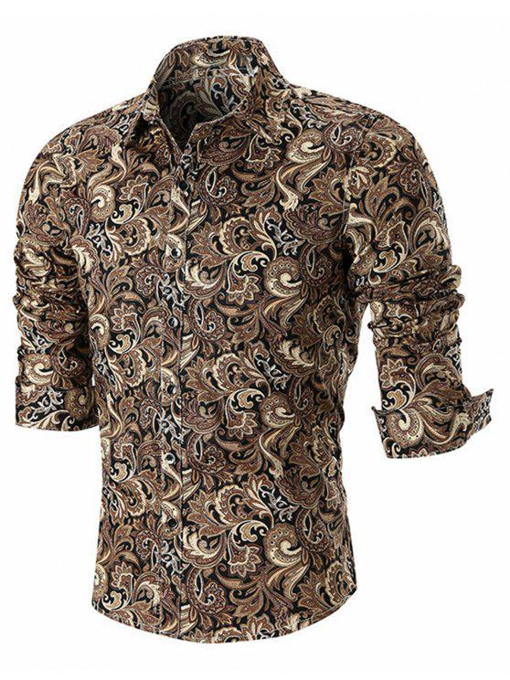 trendy Button Paisley Print Long Sleeve Shirt - KHAKI L