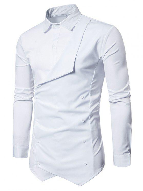Camisa assimétrica Faux Twinset Double Breasted - Branco 2XL
