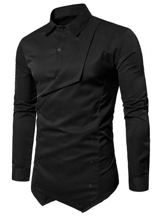 Faux Twinset Camisa asimétrica de doble botonadura - Negro XL