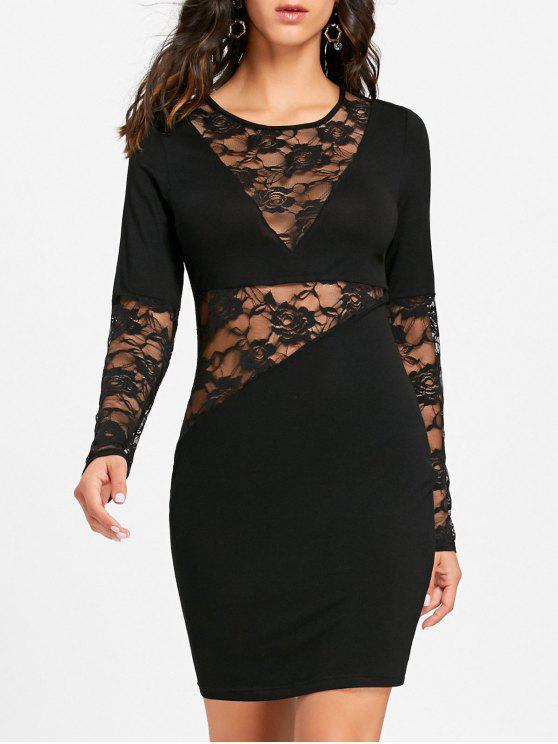 38ed0bd12 Vestido ajustado de manga larga transparente con encaje de encaje - Negro M