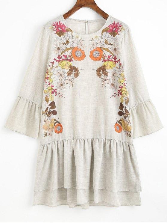 فستان مصغر مستقيم طباعة الأزهار كشكش - رمادي فاتح L