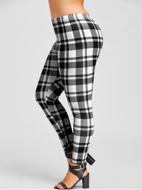 Leggings Plaid Plus Size - Branco e Preto 5XL