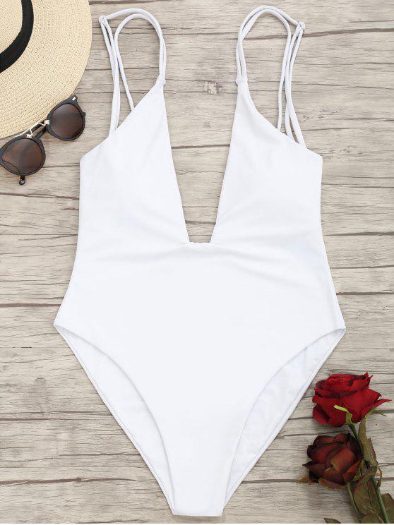 best High Cut Plunge Cami Swimwear - WHITE S