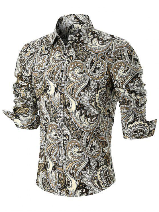 منحني تنحنح بيزلي طباعة قميص كم طويل - مزيج ملون 5XL