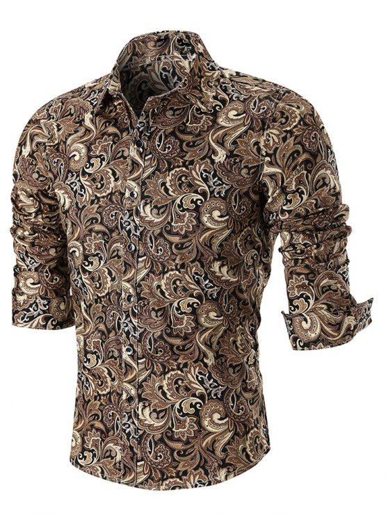 trendy Curved Hem Paisley Print Long Sleeve Shirt - KHAKI XL
