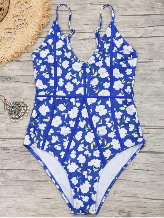 قطع صغيرة من الزهور عالية الساق ملابس السباحة - أزرق S