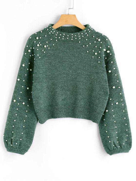 trendy Faux Pearl Mock Neck Sweater - GREEN M